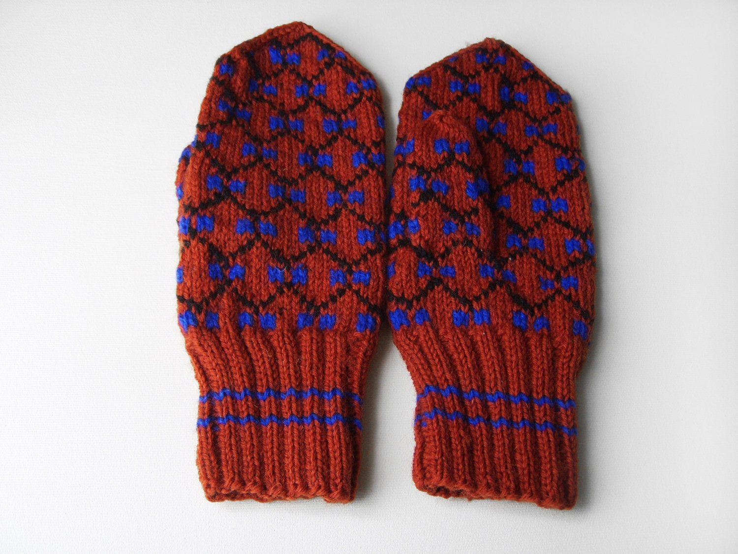 Hand Knitted Mittens - Red, Size Large - UnlimitedCraftworks
