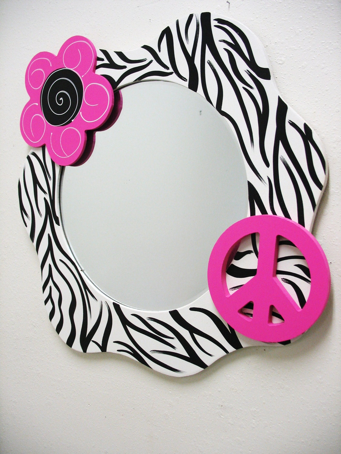 Mirror Funky Wall Decor Zebra Print by TWOPINKDOTS on Etsy