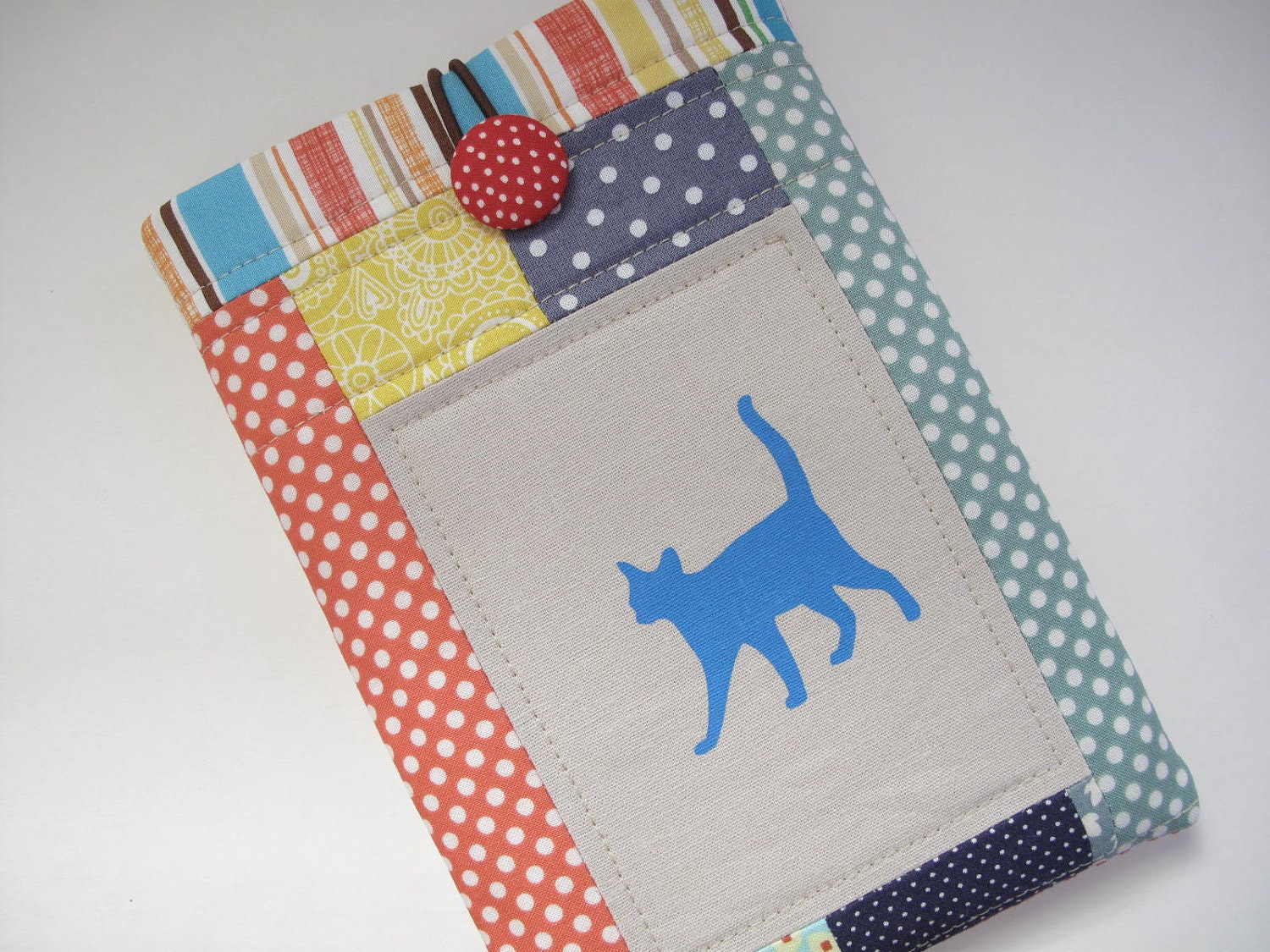 Blue cat screen printed on linen fabric quilted patchwork kindle fire case kindle fire sleeve kindle fire cover