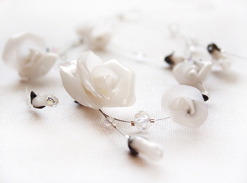 Bridal White Roses and Swarovski necklace - NESWeddingGarden