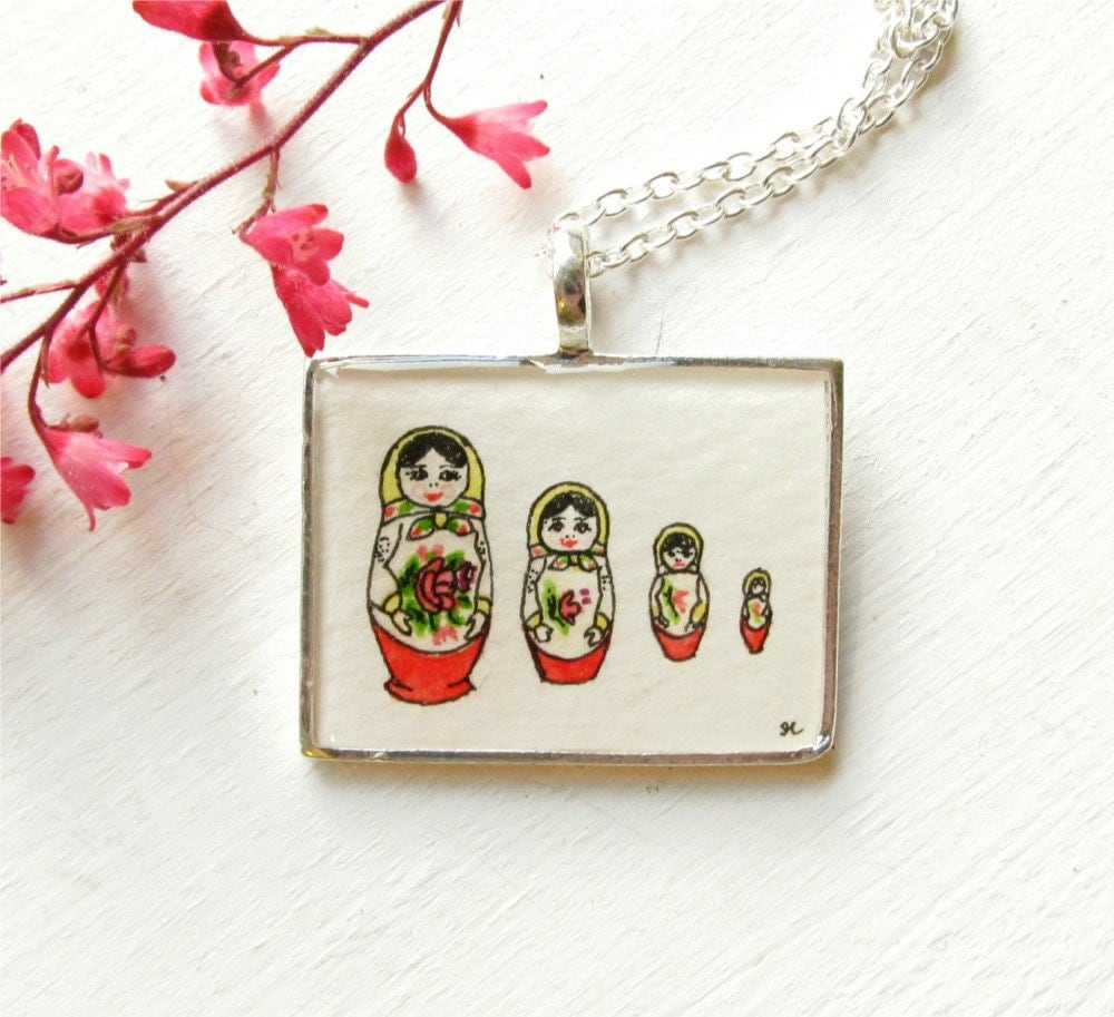 Matryoshka Dolls, Hand Painted Necklace, Original Art Pendant