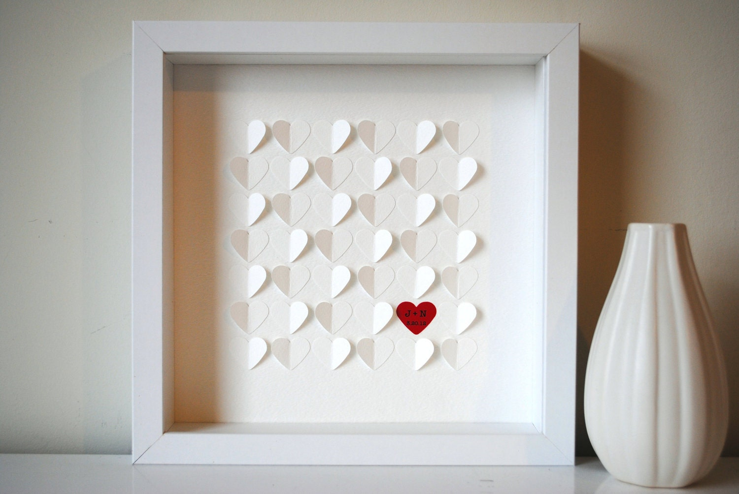 Wedding Guest Book Alternative, Personalized 3D Wedding Hearts - XS guest book (includes frame, instruction card and one pen)