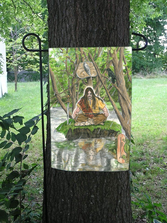Alder Card, Bran the Blessed, Celtic Ogham Garden Flag
