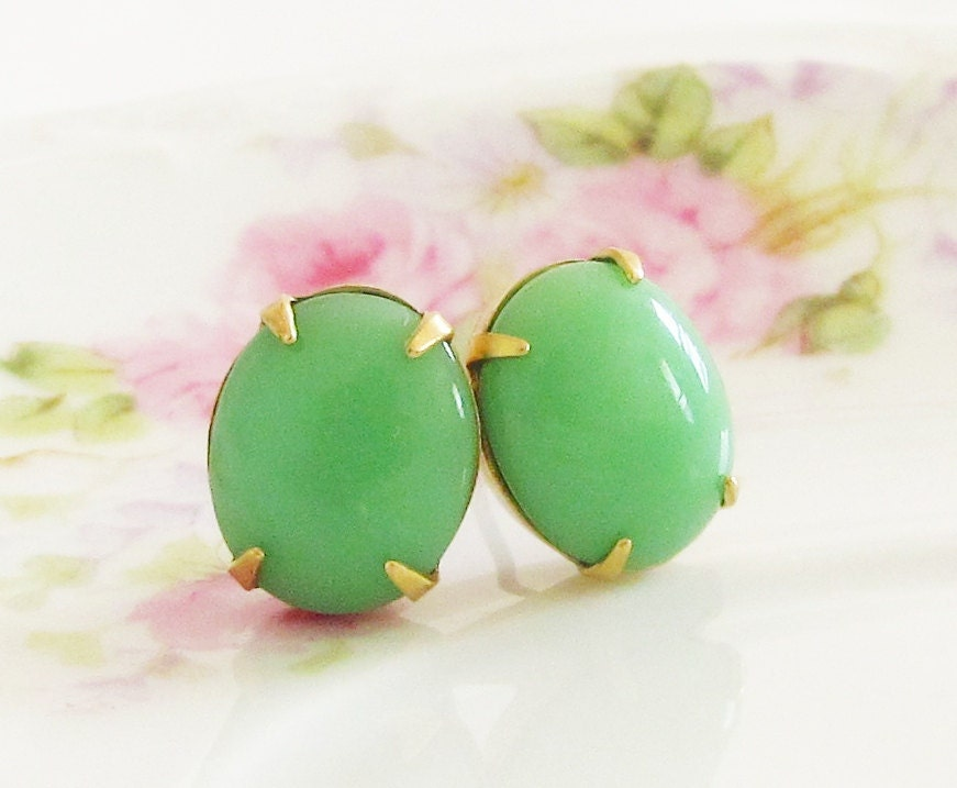 Apple Green Post Earrings - Vintage Chunky Oval Glass Jewel Surgical Steel Post Earrings -Preppy, Wedding, Bridal, Bridesmaid