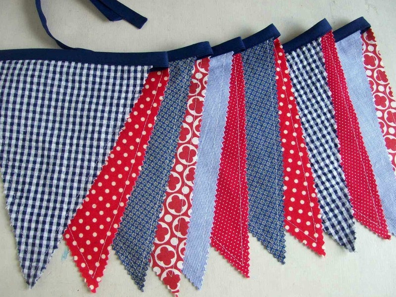 Patriotic Banner/ Red, White and Blue Bunting/ 4th of July Banner/ Photo Prop in Bright Colors - aLittleFrayed