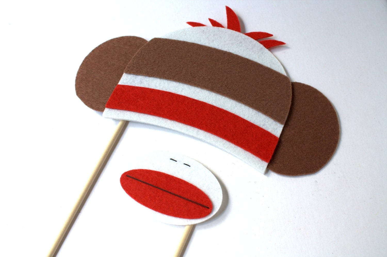 Photo Booth Props. Wedding Photo Props. Sock Monkey. Photo Props. Mustache on a Stick. Props on a Stick - The Sock Monkey Envy Maro Kit