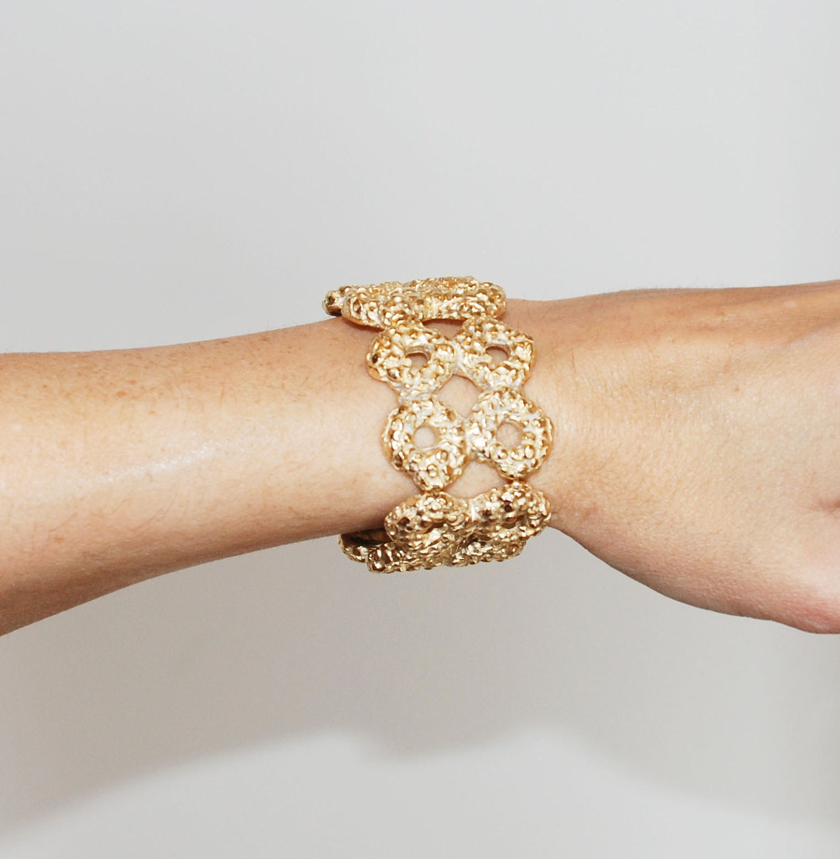 Gold Dipped Statement Stretch Organic Texture Cuff Bracelet