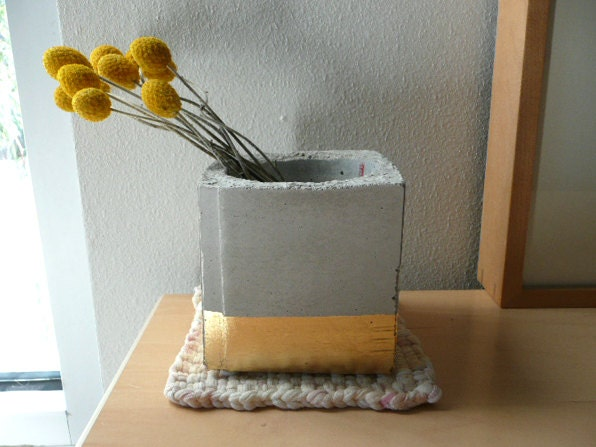 Concrete Cube Planter (Gold Gilded) - OhLaszlo