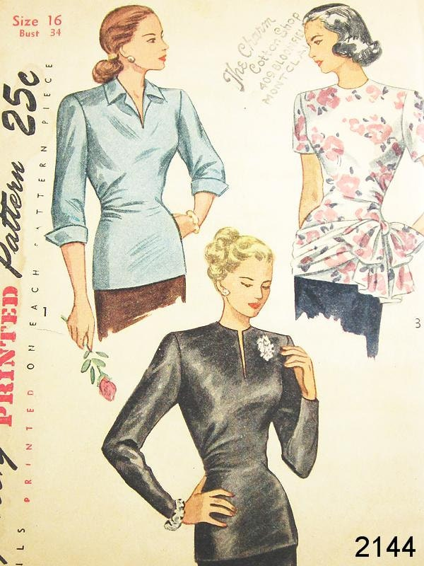 Vintage 40s Blouse Pattern - Simplicity 2144 - Vintage 1940s Long Torso Blouse in 3 Variations - SZ 16/Bust 34