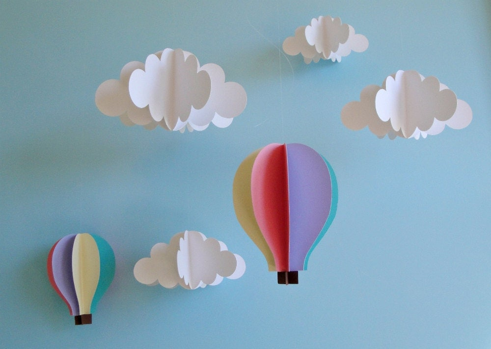 Hanging 3D Clouds and Hot Air Balloons/Hanging Decor/Nursery Mobile/Baby Mobile