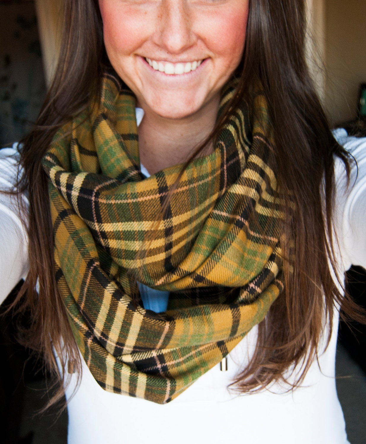 Green and Brown Plaid Infinity Scarf