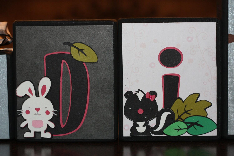 Custom Wooden Letter Block Set - Madison - Spring Critters