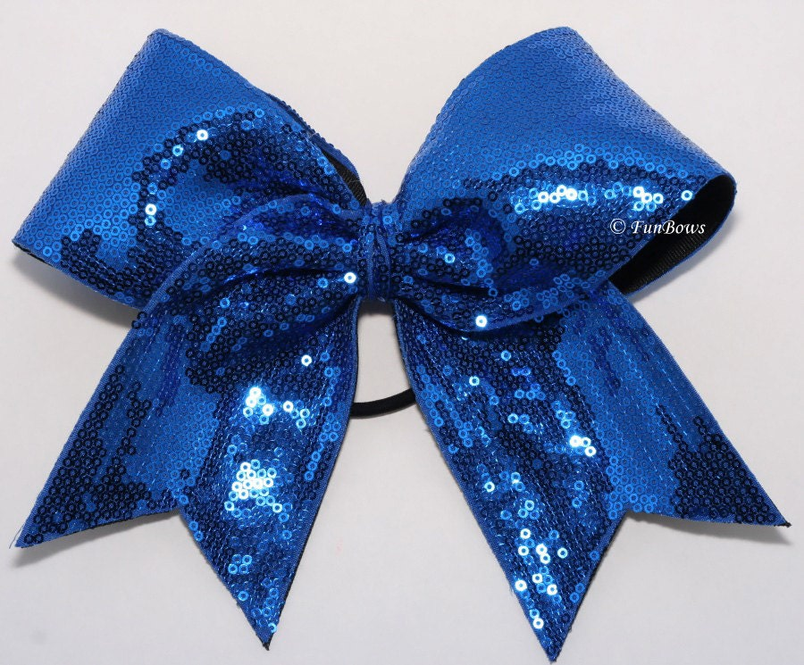 WOW Blue Sequin Fabulous GLITZ Cheerleading Bow - FunBows