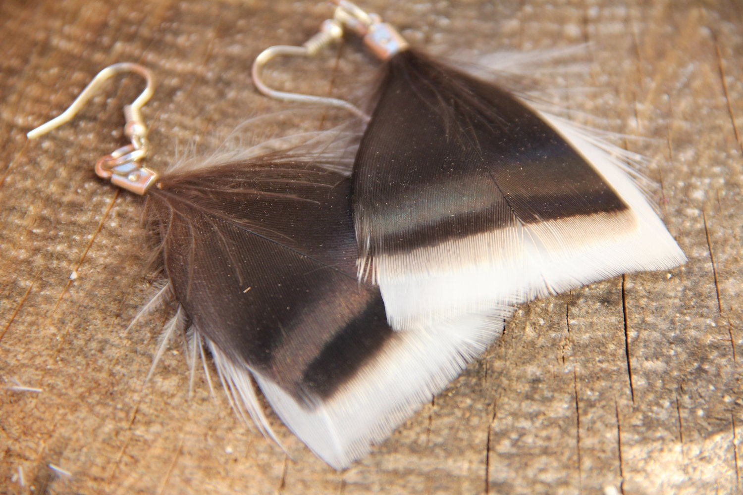 Natural Turkey Feather Earrings