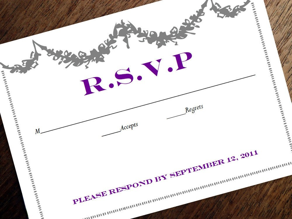 Printable Wedding Response Card Manor