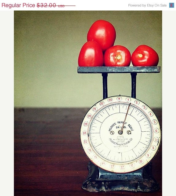 SALE Food Kitchen Photograph -  Tomatoes bright red vegetable fruit green dark yellow mint chef cook - Weighted  8x10 - AmeliaKayPhotography