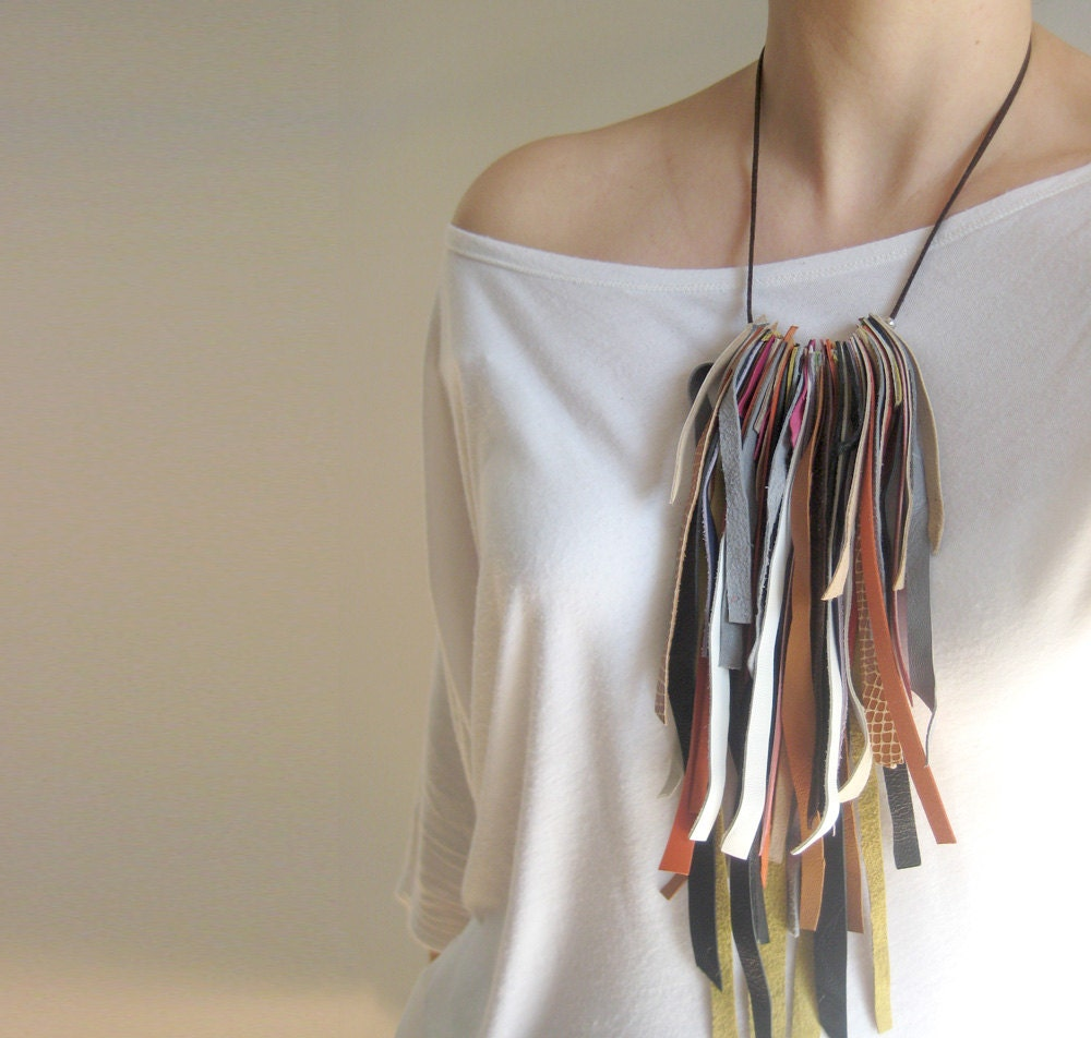 leather long necklace, fringe jewelry, hippie chic fashion, statement jewelry, earth colors - stellachili