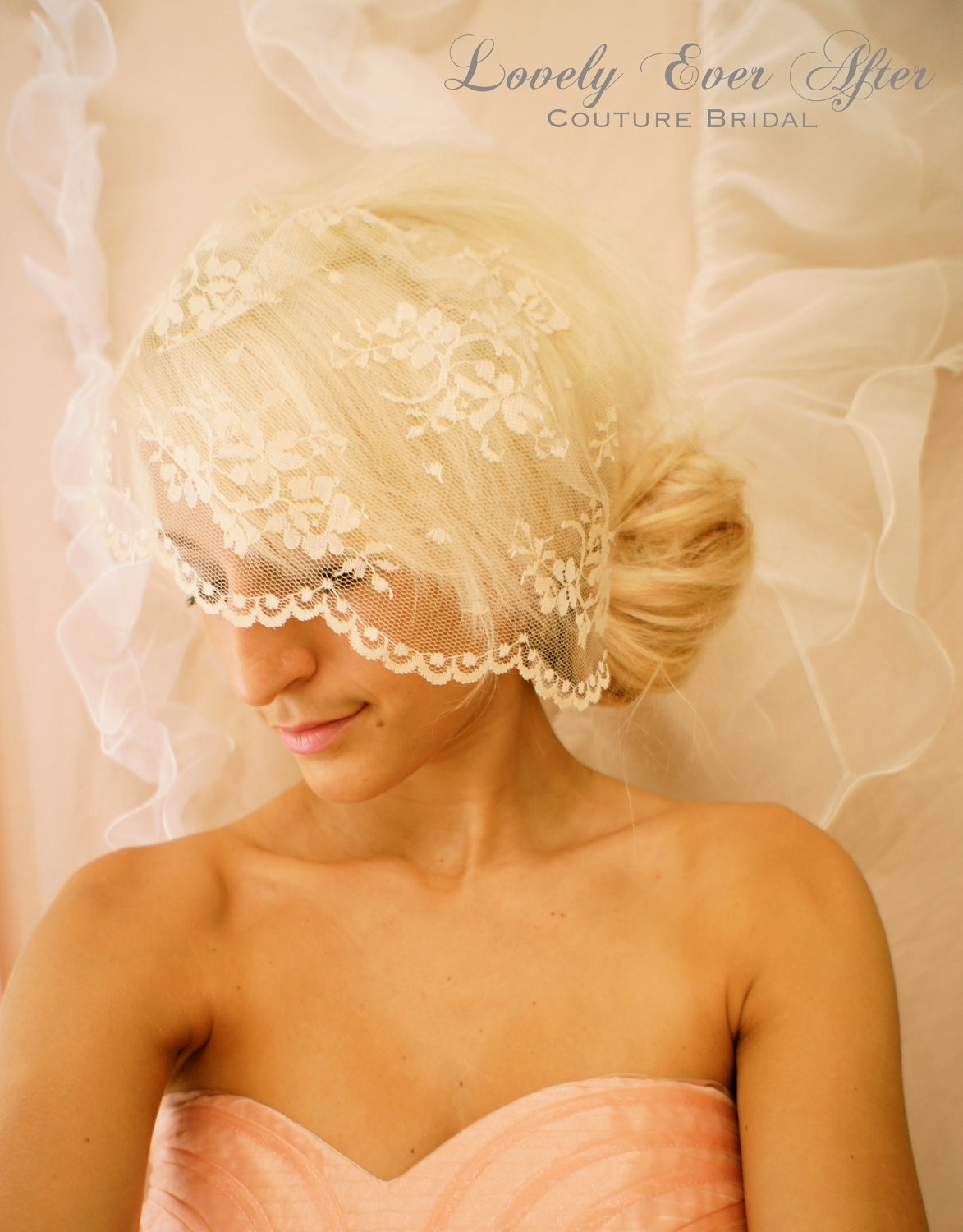 Lovely ever After Bridal Wedding Day Vintage Lace Birdcage Veil