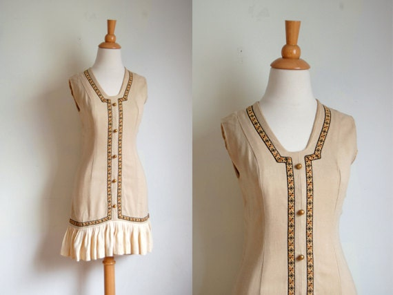 1960s Dress  // 60s Tan Linen Mini Dress // Mid Century Flapper