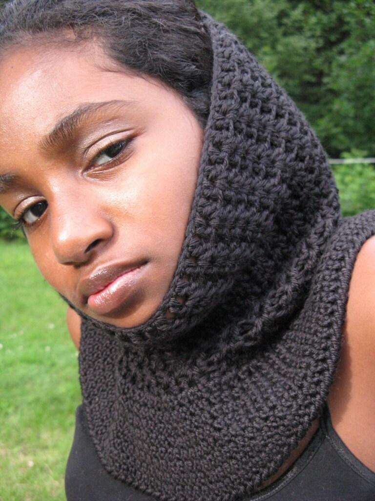 Crochet Neckwarmer Cowl in Black - OOAK