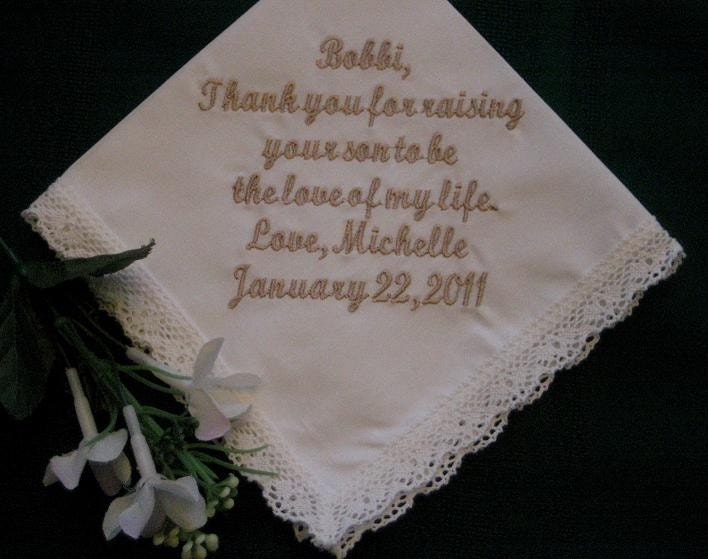 Personalized Wedding GiftWedding HandkerchiefIvory for Mother of the