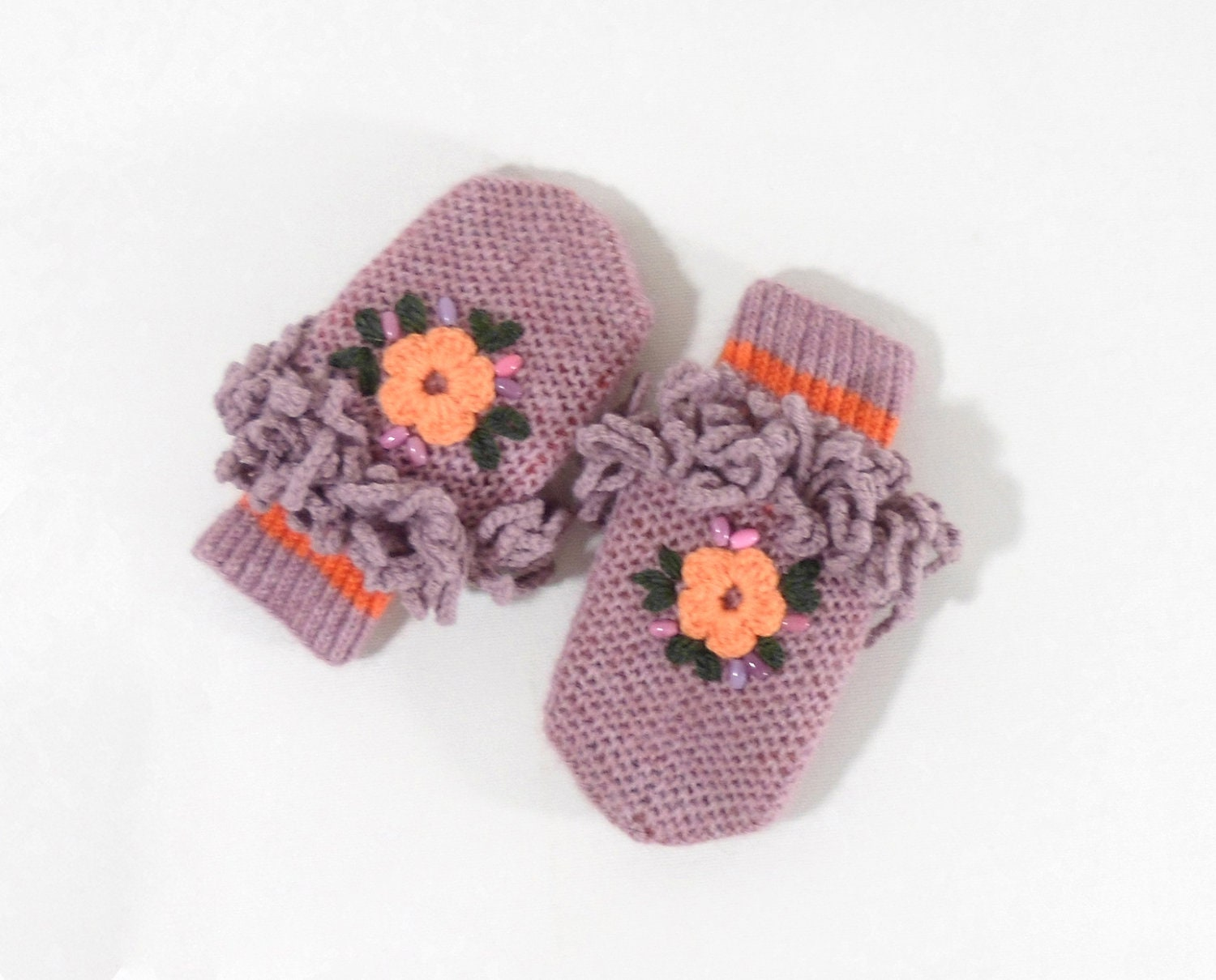 Hand Knitted Mittens for Children - Pink