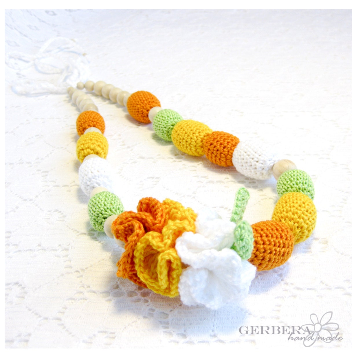 Nursing necklace & autumn breastfeeding toy for Mommy to Wear and baby - yellow orange green READY TO SHIP - GerberaHandmade