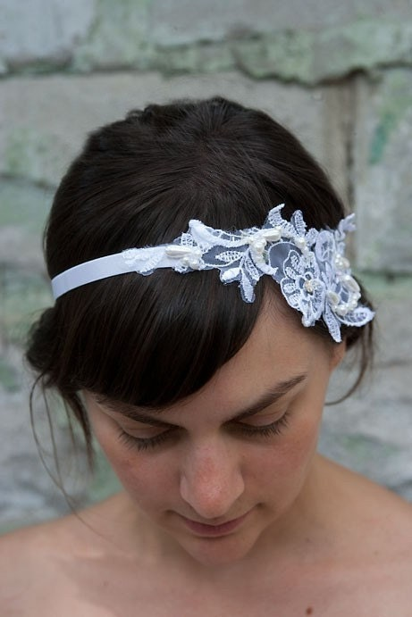 Wedding Hippie Headband White Beaded Sequined and Lace Molly Flapper