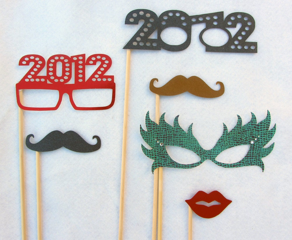New Years 2012 Party Kit. Perfect for photo booth pictures, new years and parties. Ships 2-3 Day Priority Mail