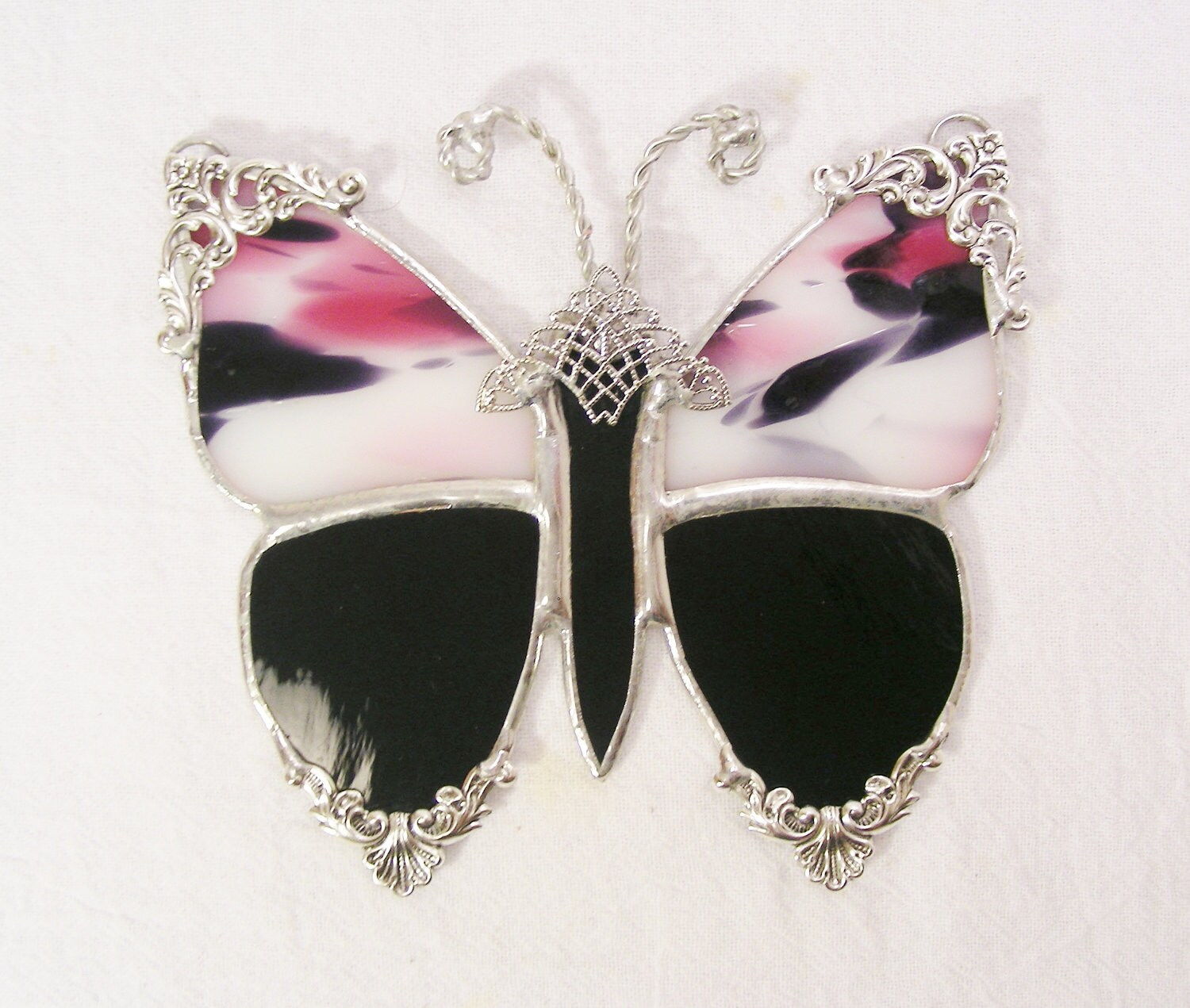 Victorian Butterfly Black and Pink Polkadot