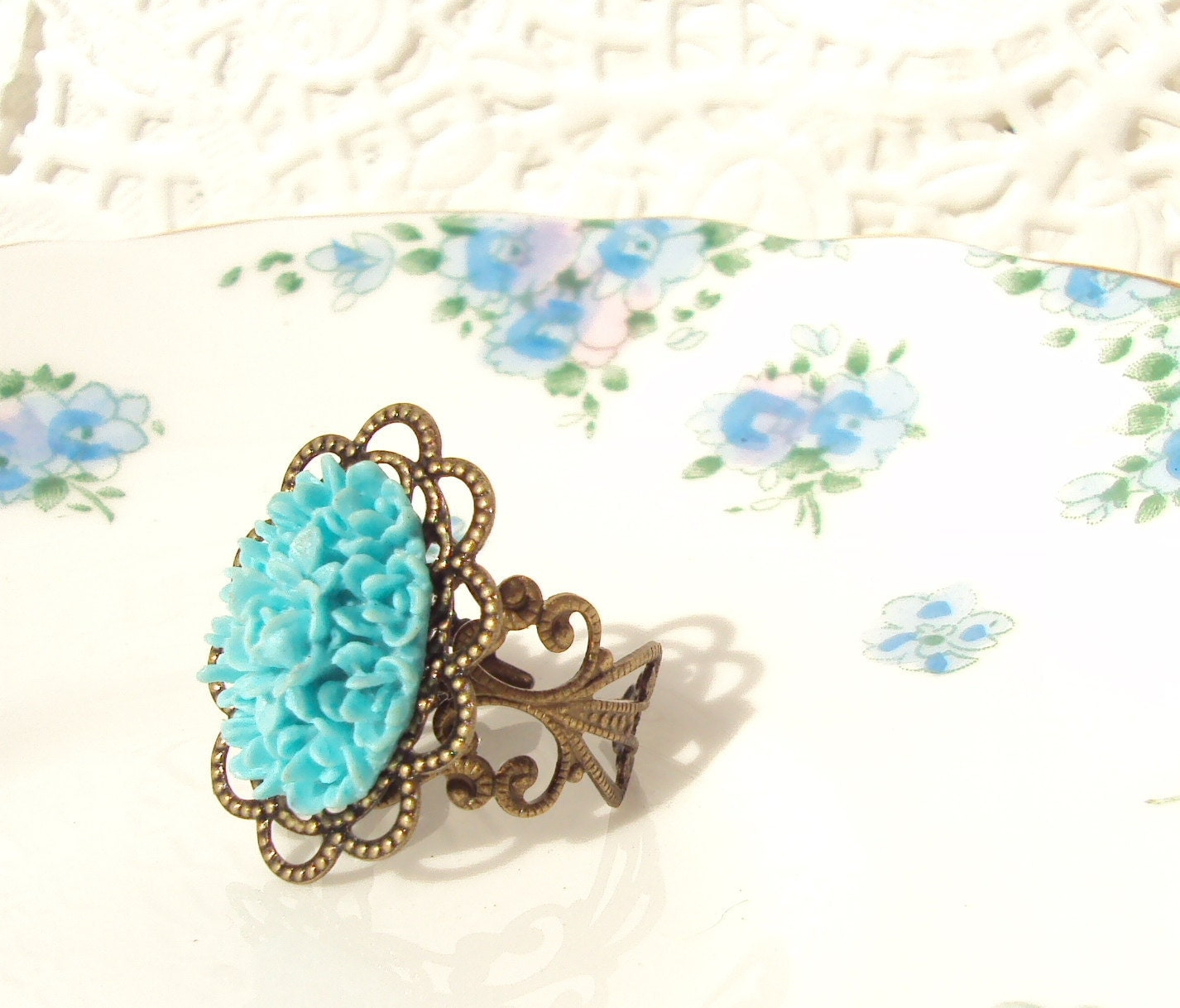 So This Is Love - Vintage Inspired Flower Cluster Ring