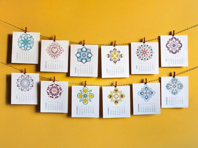 folk art desk calendar