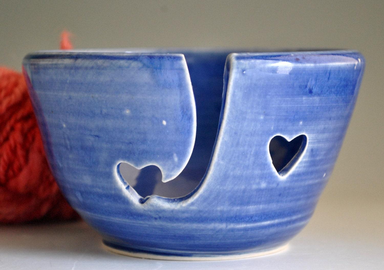 Yarn Bowl or Knitting Bowl in Cobalt Blue - bluegreenartisan