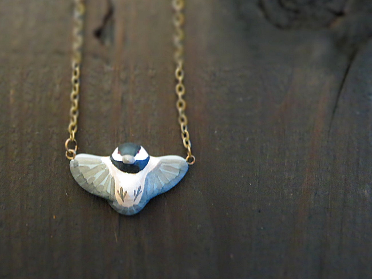 Chickadee in flight necklace - HandyMaiden