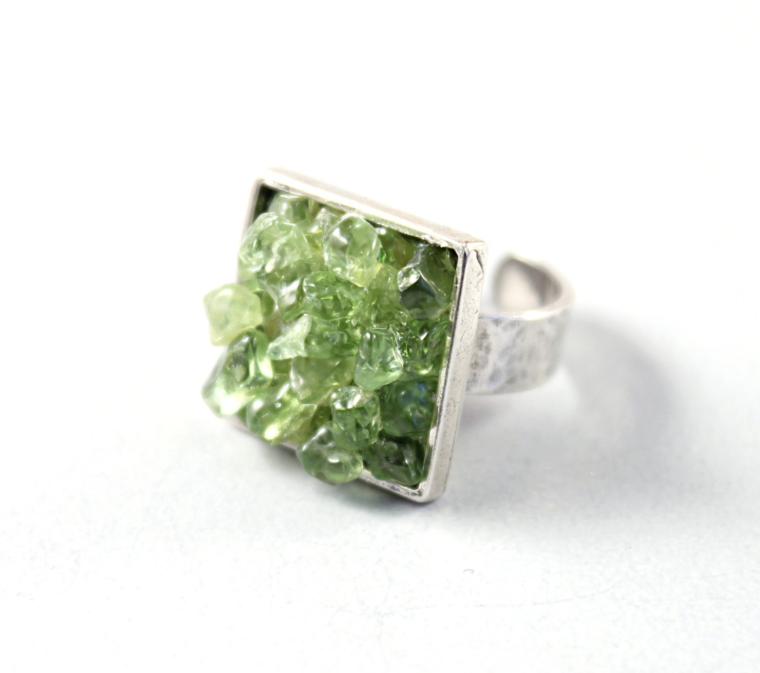 Silver ring - big green crystal ring adjustable ring sterling jewelry by NatureLook - NatureLook