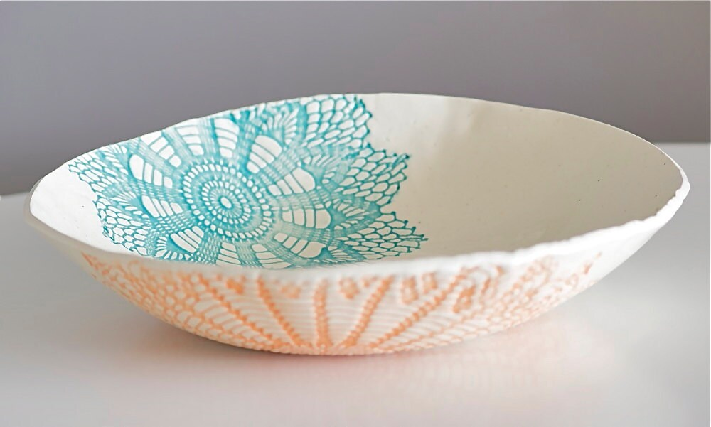 Fiesta Bowl, handmade blue orange and green - MudHandChan