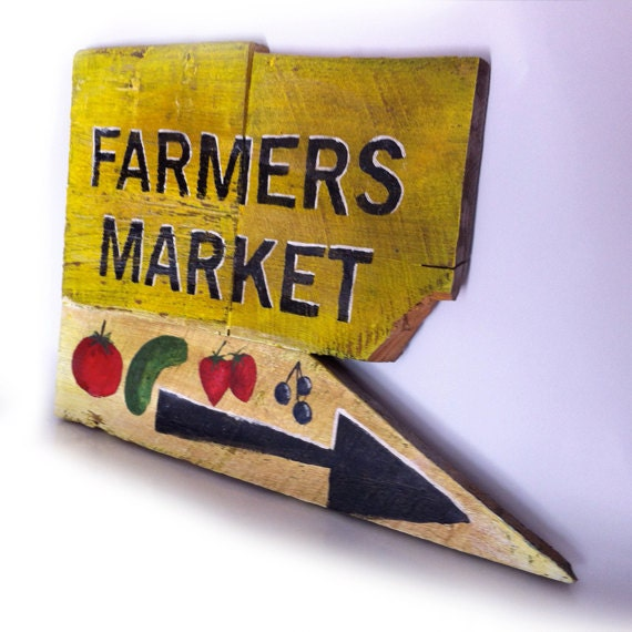 Distressed Sign, Hand Painted Farmers Market
