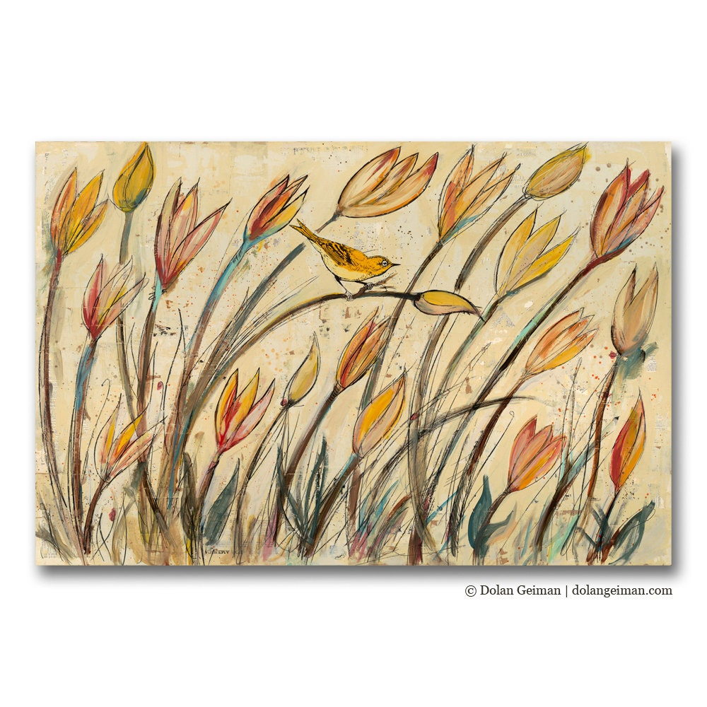 Sunshine Coral Bird Painting, Original Art on Wood, Trilliums, Made to Order, Summer Finds - dolangeiman