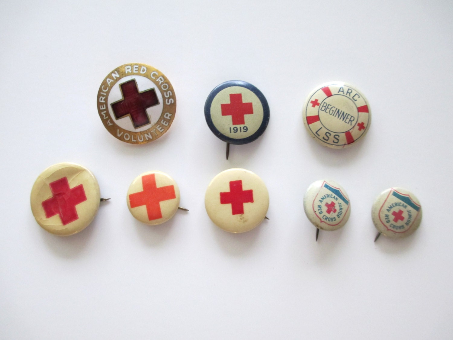 Vintage AMERICAN RED CROSS Pins Lot Of 8 Greenduck Co. - TREASUREandSUCH