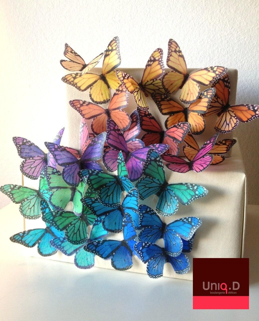 Vintage Rainbow Cake Decoration Edible : BUY 70 get 10 FREE rainbow butterflies wedding by uniqdots