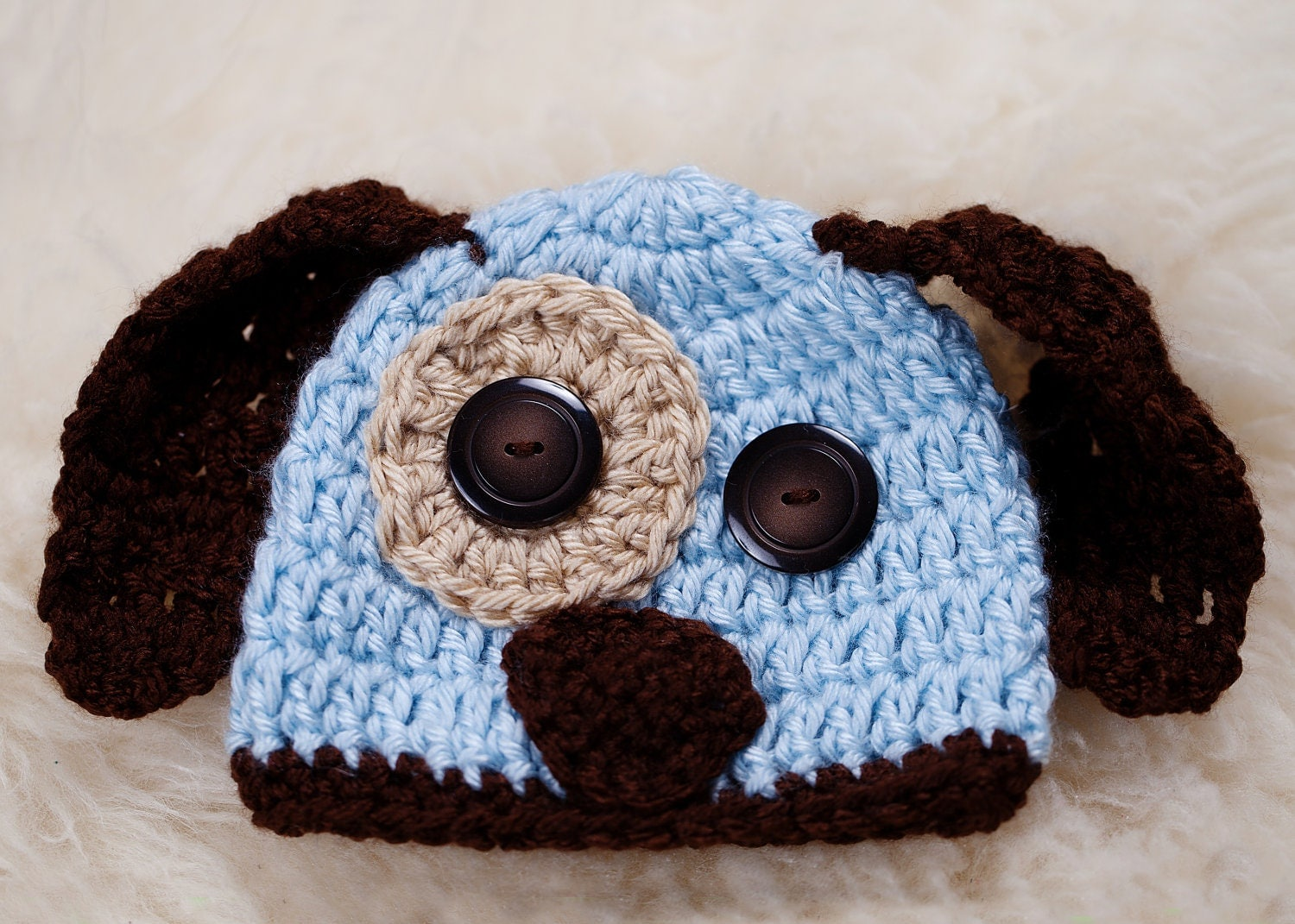 Crochet Puppy Hat RTS (FREE SHIPPING)