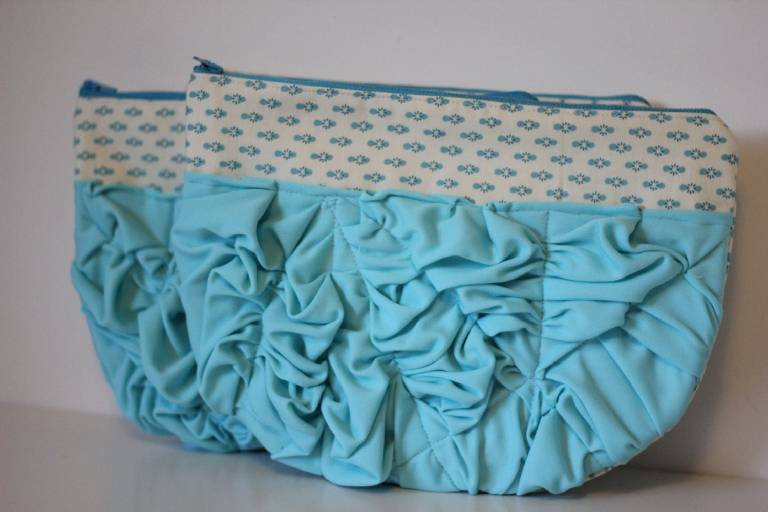 jumbo smashed ruffle clutch - turquoise and bubble gum