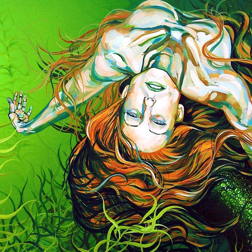 RW2 SHOWER CURTAIN Jade mermaid surrealism nude by RW2Gallery