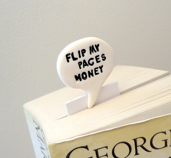 Flip my pages honey bookmark text in polymer clay speech bubble comic geek text