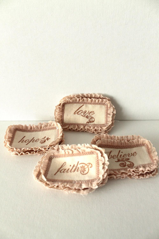 Швейные аппликации Патчи Холст Набор из четырех Любовь Поверьте Надежда Вера