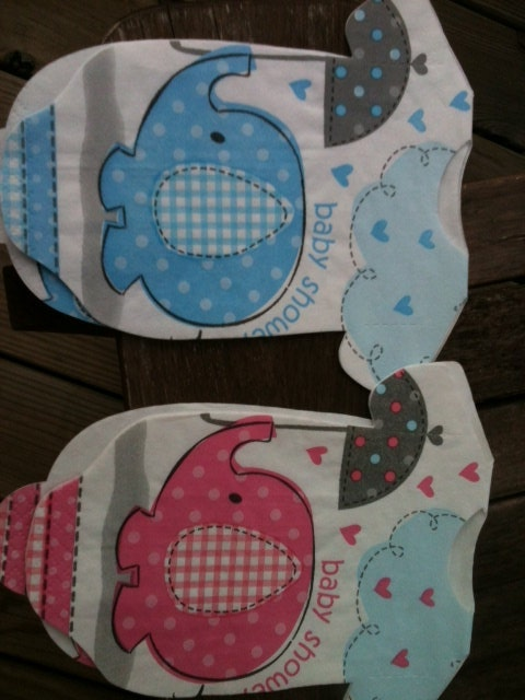 Blue or pink elephants.  30 Baby shower onesie napkins or banner decoration.