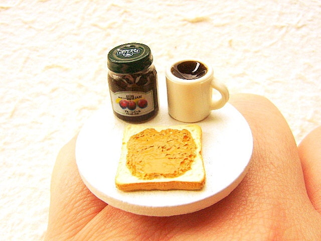 Kawaii Cute Food Ring Bread Coffee Jam Miniature Food Ring Jewelry