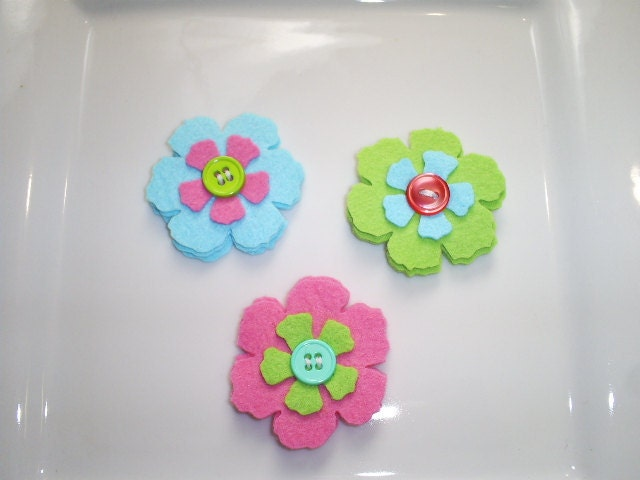 Wool Felt Flower - At The Beach - Set of 3 Felt Flower With Buttons - Bright Pink, Aqua and Lime - Ready To Ship