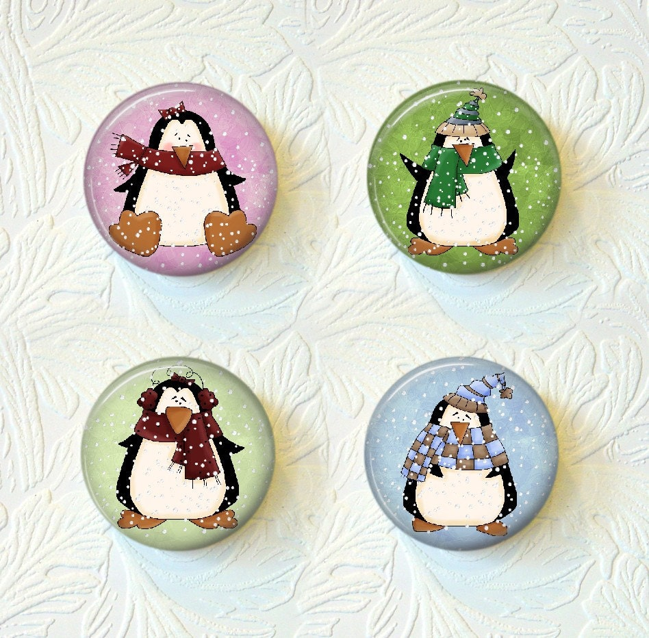 Magnet Set Christmas Whimsical Penguins  C010