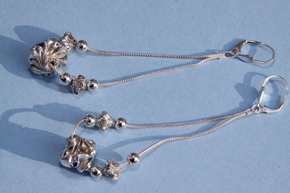 """Sterling Silver Dangle Earrings ,   Garlic Twist Beads  4"""" L    Modern Look"""